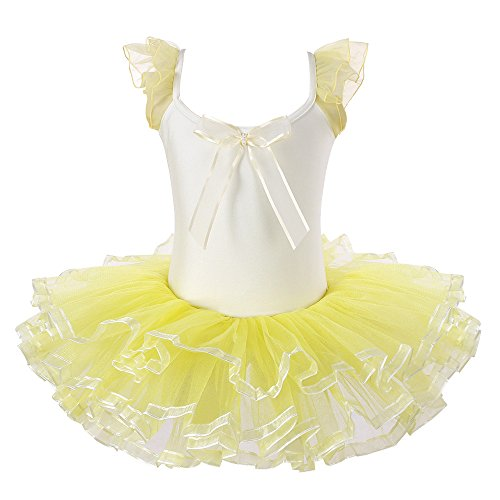 Kids Rhinestone Sparkle Dance Costumes Short Sleeve Tutu Ballet Dress for Little Girls 3-8 Years B073_Yellow_XL - Costume Tutu Ideas
