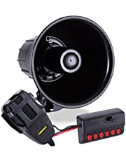 6 Tone Sound Car Siren Vehicle Horn w/Mic PA Speaker System Emergency Sound Amplifier, 30W Emergency Sounds Electric Horn-Hooter, Ambulance, Siren, Traffic Sound, PA Microphone System