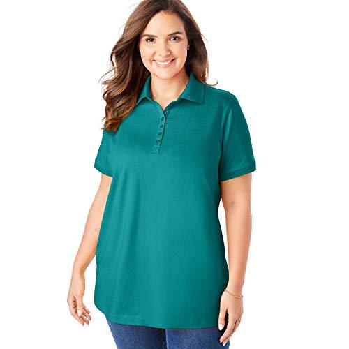 Woman Within Women's Plus Size Perfect Polo Shirt - Waterfall, 5X