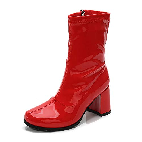 LIURUIJIA Women's Go Go Boots Mid Calf Block Heel Zipper Boot Red-42(260/US10.5) -
