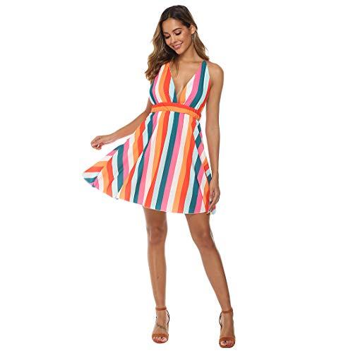 Womens Colorful Striped Dresses Backless Deep V Sleevesless Casual Dress Fashion Slim Slip Dress (Short,US XL(Tag XL))