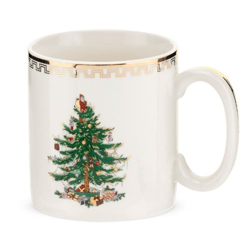 Spode Christmas Tree Gold Mug, Set of 4