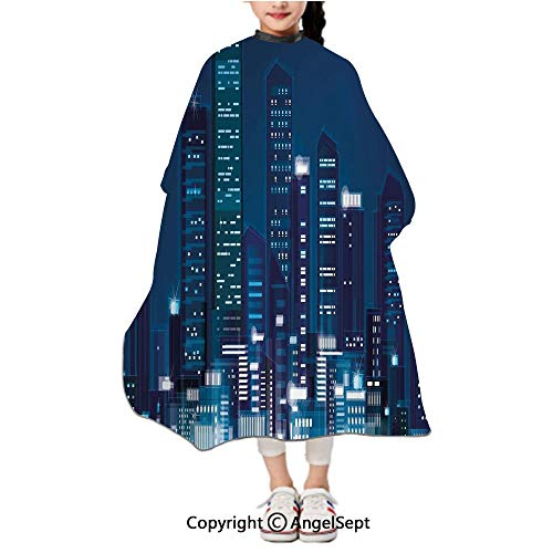 Waterproof Kids Haircut Salon Cape,Night View of Metropolis City with High Skyscrapers Downtown Business Center Dark Blue,47.2x39.4 inches,Styling Capes Cloth For Children