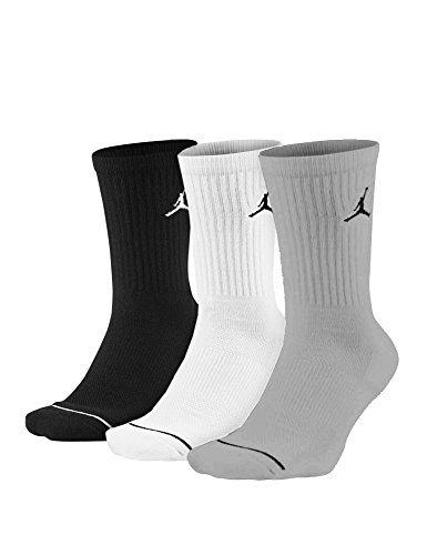 Jordan Men's Jumpman Dri-Fit Crew Socks Multi 3 Pair SX5545-019 (Black/White/Grey, Medium) by Jordan