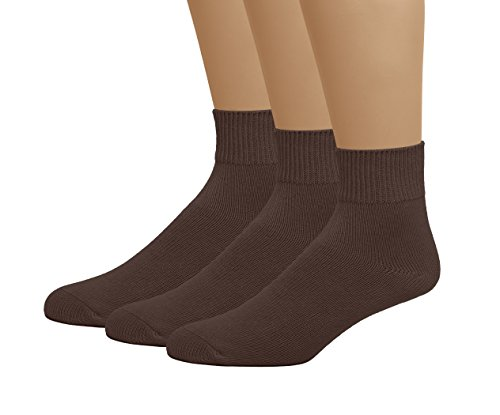 Comfort Low Quarter Sock - Classic Men's Big and Tall Knig Size Diabetic Circulatory Non-Binding Loose Top Casual Ankle Quarter Low Cut Cotton Seamless Toe Hosiery Socks 3-Pack Brown X-Large