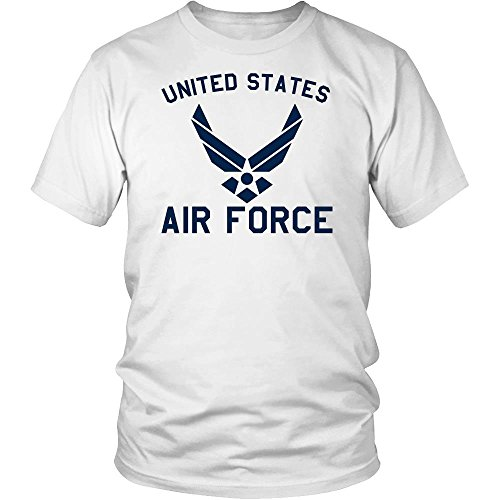 USAF United States Air Force Army Military Academy Apparel Gear Retired Stuff Athletic Mens T-Shirt Gift made in the USA by Awesome eMERCHency (L, White)