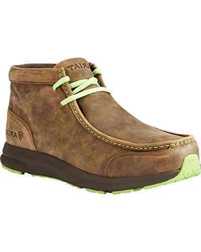 Ariat Men's Spitfire Moccasin, Brown Bomber/Lime, 10 D US