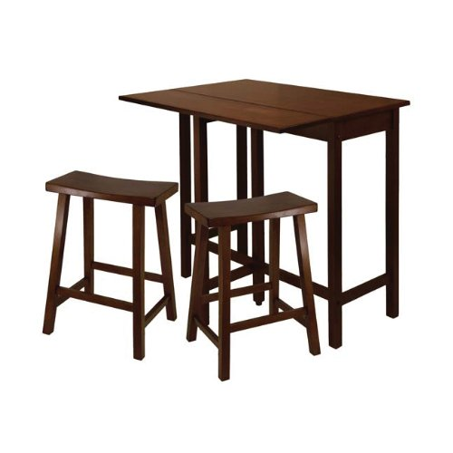 Lynnwood 3pc High Drop Leaf Table with 24 Saddle Seat Stool
