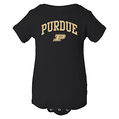 (UGP Campus Apparel YC03 - Purdue Boilermakers Arch Logo Creeper Infant Creeper Bodysuit - 6 Month - Black)