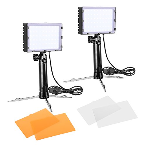 Emart 60 LED Continuous Portable Photography Lighting Kit for Table Top Photo Video Studio Light Lamp with Color Filters - 2 Sets (Best Portable Led Light For Photography)