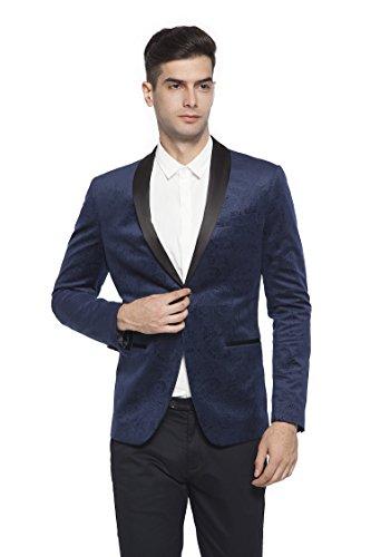 Peaked Lapel Jacket (RLM Mens Peaked Lapel One Button Tuxedo Slim Fit Dinner Jacket (40, Blue))