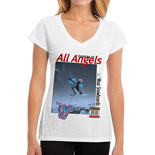 MiiyarHome Women's V-Neck T-Shirt GNU Snowboards, Girls Tee Short Sleeves Ladies Teen Jersey Shirt White L ()