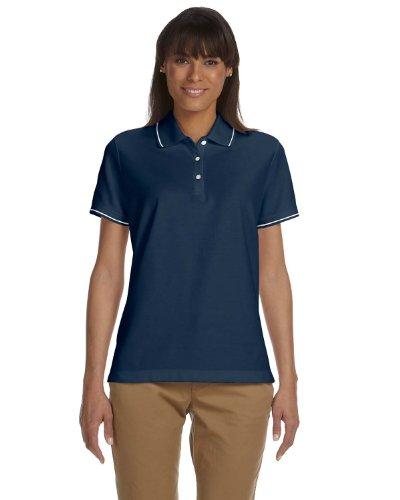 Devon & Jones Ladies Pima Piqué Short-Sleeve Tipped Polo, Medium, NAVY/WHITE (Tipped Pima Pique Polo)
