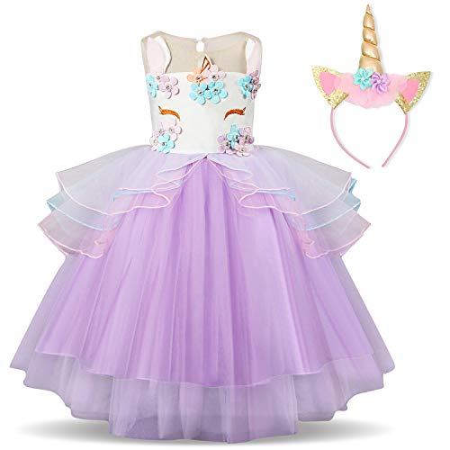 TTYAOVO Girl Flower Unicorn Costume Lace Tulle Princess Pageant Party Dress with Unicorn Headband Size 4-5 Years Purple