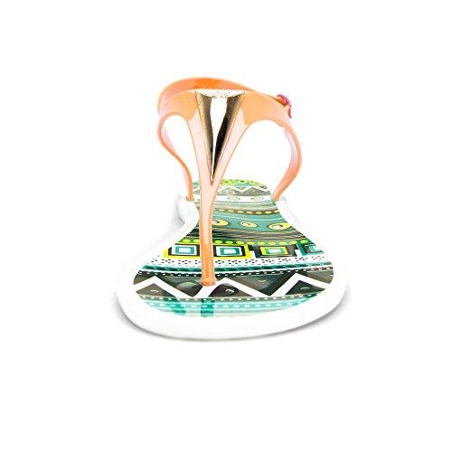 Chemistry® Eva Mujeres Roman Gladiador Tanga Pajarita Sandalias Planas Correa De Tobillo Ajustable Chanclas Zapatos De Mujer Naranja