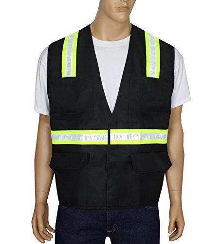 Safety Depot Safety Vest 6 Pockets with Pen Dividers Hook & Loop Closure Hi Vis Light Weight V6048-BK (Black, Extra Large)