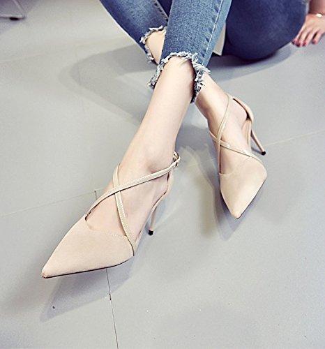 Hebilla Ocio Salvaje Fina Y Transversales Solo Zapatos Mujer De Las High Lady Luz 38 Y De De Muelle Elegante Zapatos Puerto Tiras Zapatos Punta 37 MDRW Heeled Beige 8Cm Trabajo 67twqO7B
