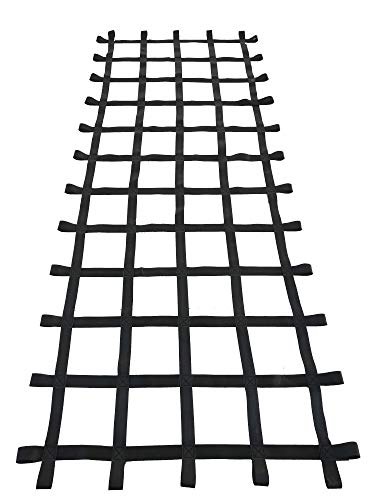 FONG 10' X 4' Climbing Cargo Net Black - Swing Set Accessories - Indoor Climbing net - Outdoor Playground Swing, Belt Swing, Playground Hanging Step Ladder