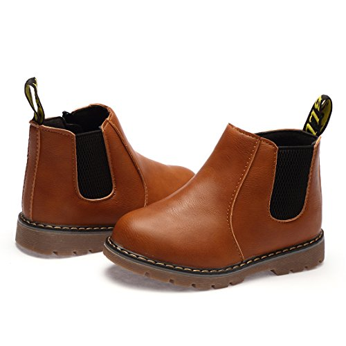 WQINSHOE Boy and Girl's Winter Ankle Boots PU Zipper Cute Casual Shoes(Toddler/Little Kid) Brown 34 (Shoes Winter Casual)