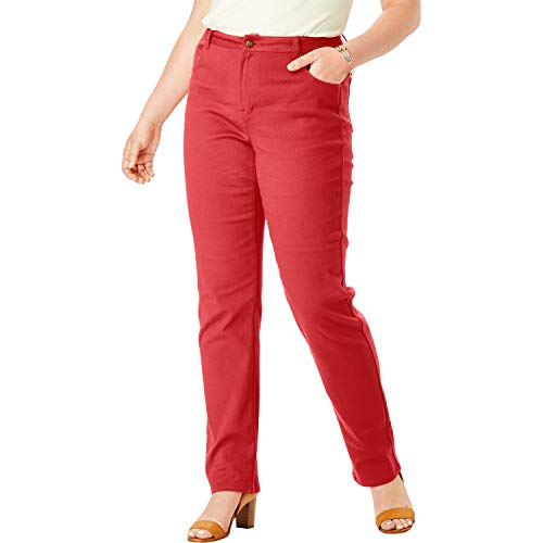 (Jessica London Women's Plus Size True Fit Straight Leg Jeans - Pepper Red, 24)