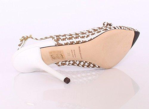 DOLCE & GABBANA Beige White Leather Slingbacks Pumps Shoes