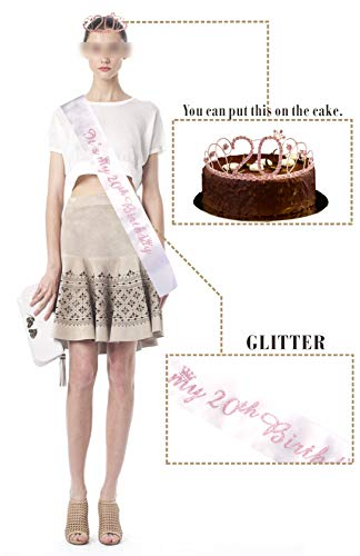 20th Birthday Gifts for Girl, 20th Birthday Tiara and Sash pink, HAPPY 20th Birthday Party Supplies, 20 & Fabulous…