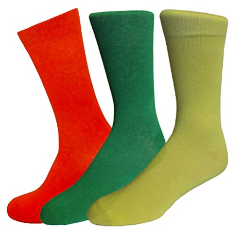 Solid Color Cotton Socks (3 Pairs) (Orange/Yellow/Green) ()