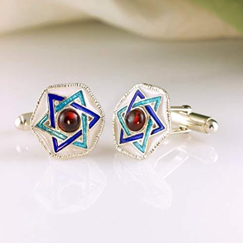 Star of David Cufflinks Judaica Jewelry for Men Silver Enamel Blue White Cufflinks Magen David w Garnet Bar Mitzvah Jewish Gift for Him