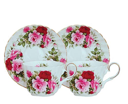 SUMMERTIME ROSE - SET OF 2, Elegant Tea Cup and Saucer, Fine Bone China - Made in England
