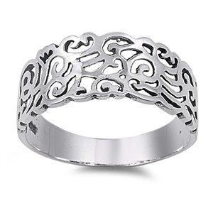 Sterling Silver Art Deco Celtic Ring 9mm