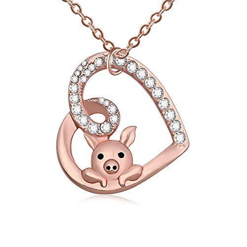 TUSHUO Delicate Cute Hollow Heart Lovely Pig Pendant Necklace Pig Jewelry for Women Girls (Rose Gold)