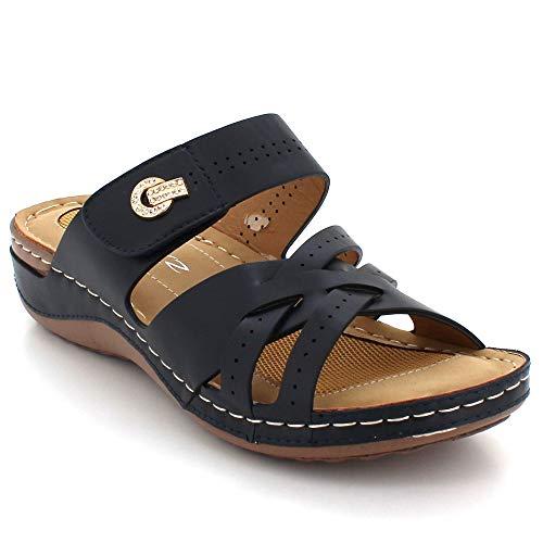 Señoras Mujer Casual Abierta De Punta Ponerse Cuña Zapatos Sandalias Cada Comodidad Verano Día Azul Tamaño Tacón Ligero Marino rrqdYx