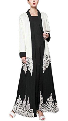 Smeiling Women's Long Sleeve Dress Abaya National Costume Muslim Maxi Dress 1 (China National Dress Costume)