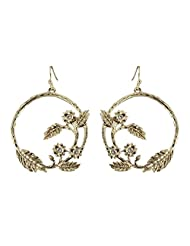 fonk_CA:: Silver/Gold Color Zinc Alloy Flower Plant Shape Drop Earrings with Mini Faceded Crystal Earings Pendientes Mujer