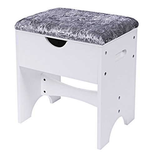 (BEWISHOME Vanity Stool Bedroom Makeup Vanity Bench Piano Seat with Upholstered Seat and Storage, White FSD01M)