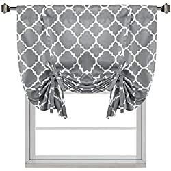 "H.VERSAILTEX Thermal Insulated Grey Blackout Curtain - Tie Up Shade for Small Window (Rod Pocket Panel, 42"" W x 63"" L, Moroccan Printed in Gray) - By"