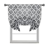 H.VERSAILTEX Thermal Insulated Grey Blackout Curtain - Tie Up Shade for Small Window (Rod Pocket Panel, 42'' W x 63'' L, Moroccan Printed in Gray) - By