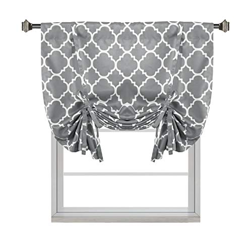 """H.VERSAILTEX Thermal Insulated Grey Blackout Curtain - Tie Up Shade for Small Window (Rod Pocket Panel, 42"""" W x 63"""" L, Moroccan Printed in Gray) - By"""