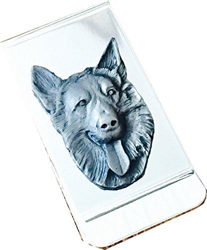 Chrome Polished Money Clip with Pewter German Shepherd Dog ()