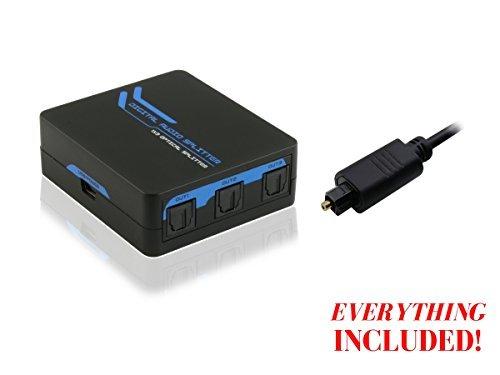 enKo (1x3) 1 Input to 3 Output SPDIF Toslink Digital Optical Audio Splitter 3-Way Signal Amplifier Support 5.1CH LPCM 2.0 DTS Dolby-AC3