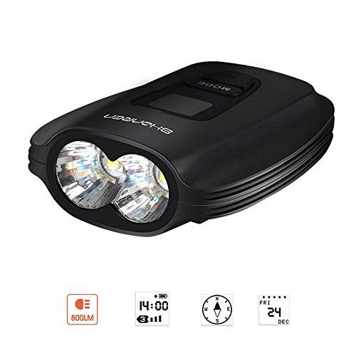 SHANREN Bicycle Light USB Rechargeable, 800 Lumens Super Bright Bike Light, 2 CREE XM-L2 LED Walterproof Bike Headlight, OLED Screen Display Compass/Time/Date/Battery Level, Alloy Bike Front Light