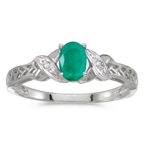 Jewels By Lux 10k White Gold Genuine Green Birthstone Solitaire Oval Emerald And Diamond Wedding Engagement Ring - Size 8 (0.31 Cttw.) ()