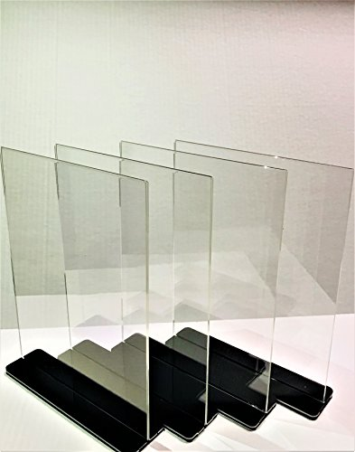 Npus Ventures Acrylic Sign Holder  8 5 X 11  Double Sided  T Shaped With Stylish Jet Black Cover   Great For Posting Signs Use  Menu Items  Postings  Pictures And Advertisement  4 Pack
