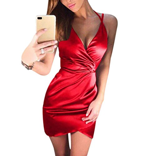Club Notes Red - AmyDong Women's Dress, Women Sexy Solid V-Neck Crossed Front Mini Dress Evening Party Sling Dress Zippers Nightclub Slim Skirt (XL, Red)