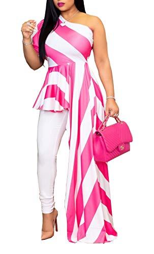 - One Shoulder Peplum Blouse Tops Shirt Dress - Women's Striped Ruffle High Low Asymmetrical Maxi Dress Pink