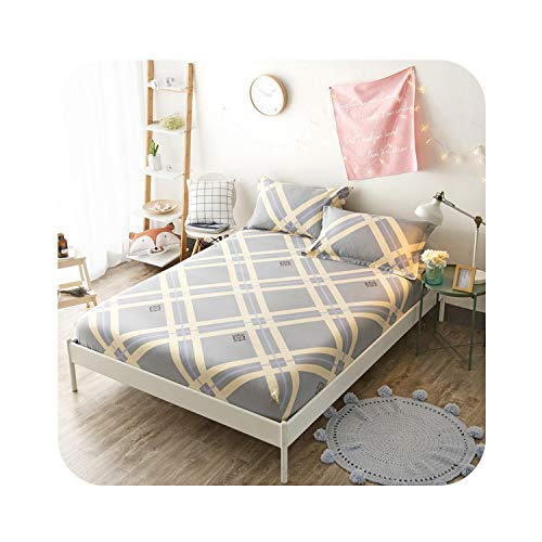 - Goods-Store bedding sets 160X200cm 100% Cotton Girls Fitted Sheet Bed Sheet Linen Set Mattress Cover with Elastic Band Sheet College Dorm Queen Twin Size,Fitted Sheet 7,90cmX200cm 3Pcs