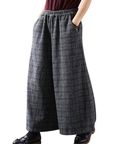 YESNO PK5 Casual Loose Cropped Pants Wool Blend Warm Trousers Checks Wide Leg Pockets (XL, PK5 Gray)