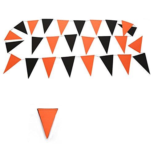 Chytaii Striscione Piccoli Bandierine Triangoli Decorazione Bar Giardino Parete Halloween Sera Nero Arancione