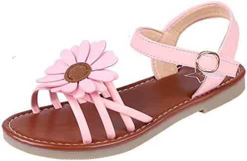 20045785f Litfun Kids Girls Cute Flower Open Toe Flat Strap Summer Sandals (Toddler Little  Kid
