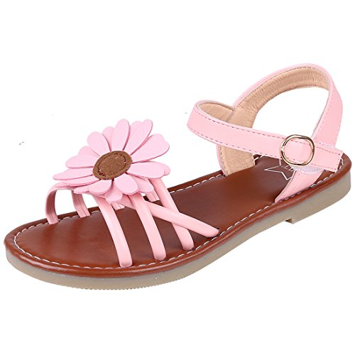 Litfun Kids Girls Pink Flower Open Toe Strap Flat Sandals (Toddler/Little Kid/Big Kid) Girls Pink Flower Sandals